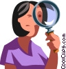 Vector Clipart picture  of a woman looking through a