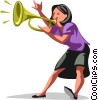 Vector Clip Art image  of a woman trumpeting