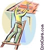 Vector Clip Art graphic  of a Roofing Repair