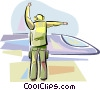 Air force personnel directing fighter jet Vector Clipart image