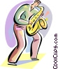 Vector Clip Art graphic  of a Saxophonists