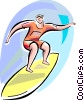 Man surfing Vector Clip Art picture
