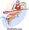 Vector Clipart graphic  of a Kayaking