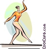 Gymnast performing on the balance beam Vector Clip Art picture