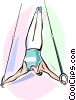 Gymnast performing on the rings Vector Clipart illustration
