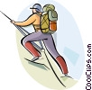 Vector Clipart illustration  of a Rock and Mountain Climbing