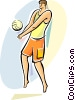 Volleyball player bumping the ball Vector Clipart picture