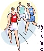 Vector Clipart illustration  of a Runners Running