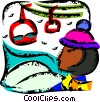 Downhill Skiing Vector Clip Art graphic