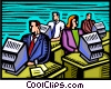 People working in office setting Vector Clipart illustration