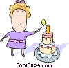 Vector Clipart image  of a Girl lighting candles on a