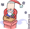 Santa going down chimney Vector Clip Art picture