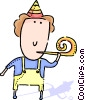 boy and a noise maker Vector Clip Art picture