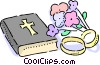 Wedding ring with bible and flowers Vector Clip Art graphic