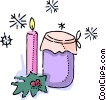 Christmas candle with a jar of preserves Vector Clipart graphic