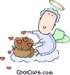 Cupid with sack of hearts Vector Clip Art graphic