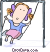 Girl playing on the swings Vector Clipart image