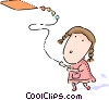 Kite Flying Vector Clip Art graphic