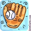 Vector Clip Art graphic  of a Gloves, Bats, Balls