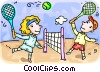 Tennis players Vector Clip Art picture