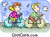 Boy and girl riding their bikes Vector Clipart image