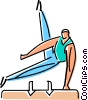 an athlete performing on the pommel horse Vector Clip Art image