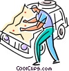 Vector Clipart graphic  of a lost traveler looking at a map