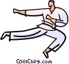 Vector Clip Art image  of a Flying side kick