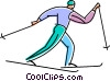 Vector Clipart graphic  of a cross country skier