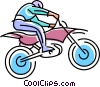 dirt bike racer flying over a jump Vector Clip Art image