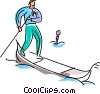 gondola operator paddling through the water Vector Clip Art picture