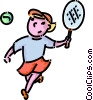 Vector Clip Art graphic  of a girl playing tennis
