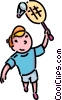 Boy playing badminton Vector Clip Art graphic