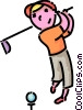 Vector Clipart image  of a boy playing golf