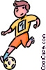 Vector Clipart graphic  of a Boy playing soccer