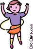 Vector Clip Art picture  of a girl with a hula-hoop