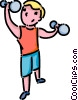 Vector Clip Art graphic  of a boy lifting weights