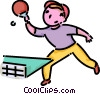 boy playing table tennis Vector Clipart illustration