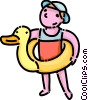 Vector Clip Art graphic  of a child with an inflatable toy