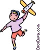 boy with a toy airplane Vector Clipart graphic