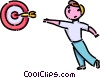 Boy playing darts Vector Clipart image