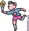 boy running with the Olympic torch Vector Clip Art image
