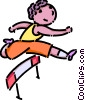 Vector Clip Art image  of a boy running the hurdles