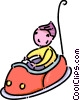 Vector Clip Art picture  of a girl in a bumper car