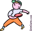 Vector Clip Art graphic  of a boy playing Frisbee