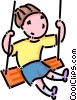 Vector Clipart picture  of a girl on a swing