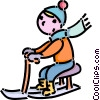 Vector Clipart picture  of a boy on his toboggan