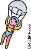 Vector Clip Art picture  of a young person skydiving