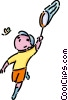 boy catching insects with a net Vector Clip Art picture
