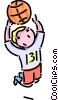 Vector Clip Art picture  of a boy playing basketball